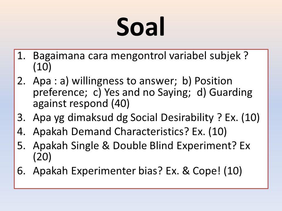 Soal Bagaimana cara mengontrol variabel subjek (10)