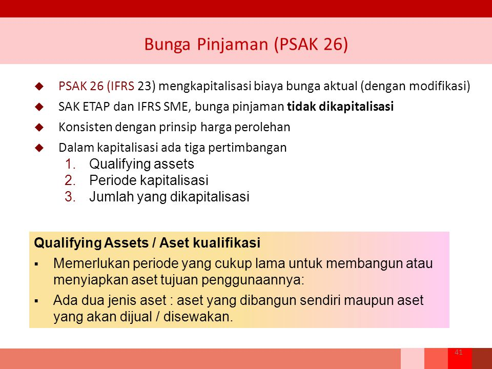 Bunga Pinjaman (PSAK 26) PSAK 26 (IFRS 23) mengkapitalisasi biaya bunga aktual (dengan modifikasi)