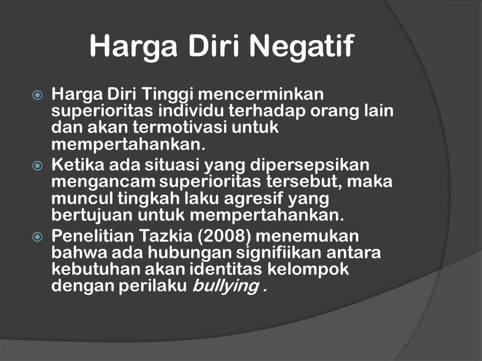 Harga Diri Negatif Harga Diri Tinggi mencerminkan superioritas individu terhadap orang lain dan akan termotivasi untuk mempertahankan.