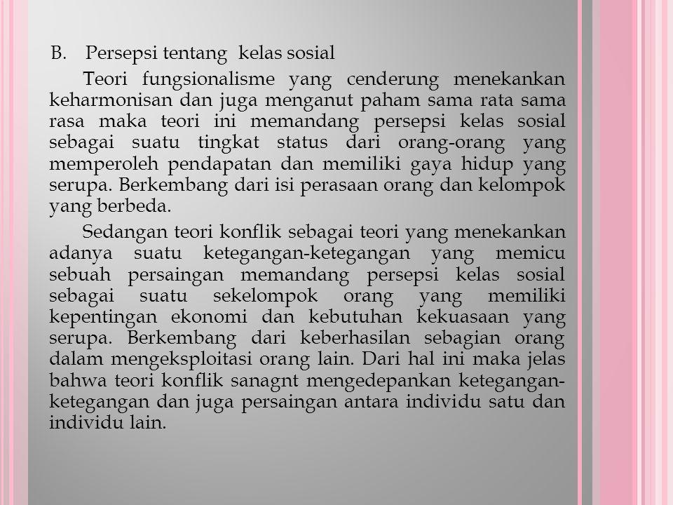B. Persepsi tentang kelas sosial