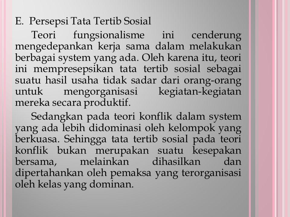 E. Persepsi Tata Tertib Sosial