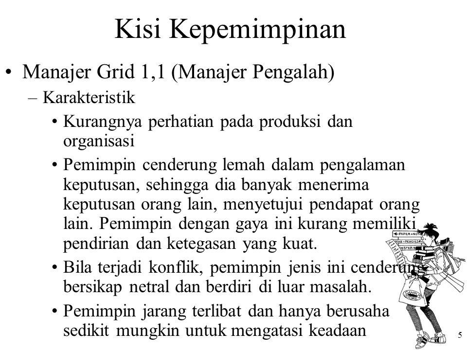 Kisi Kepemimpinan Manajer Grid 1,1 (Manajer Pengalah) Karakteristik