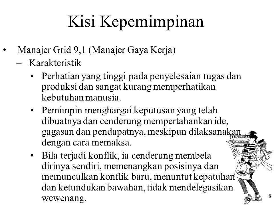 Kisi Kepemimpinan Manajer Grid 9,1 (Manajer Gaya Kerja) Karakteristik
