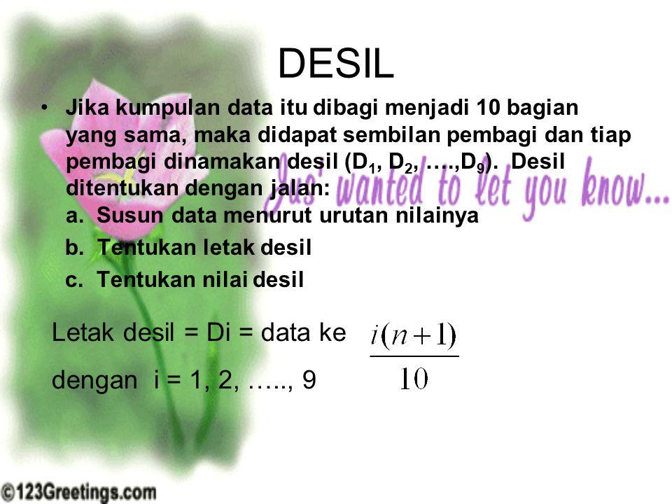 DESIL Letak desil = Di = data ke dengan i = 1, 2, ….., 9