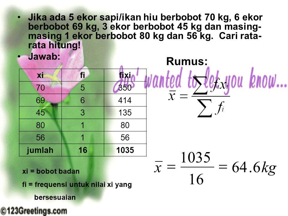 Jika ada 5 ekor sapi/ikan hiu berbobot 70 kg, 6 ekor berbobot 69 kg, 3 ekor berbobot 45 kg dan masing-masing 1 ekor berbobot 80 kg dan 56 kg. Cari rata-rata hitung!