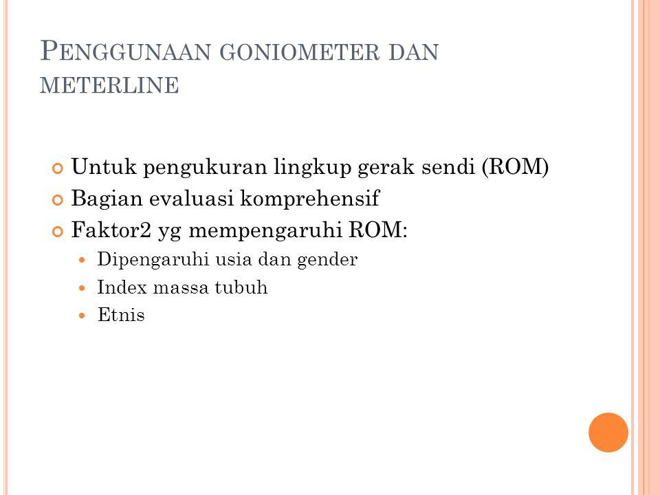 Penggunaan goniometer dan meterline