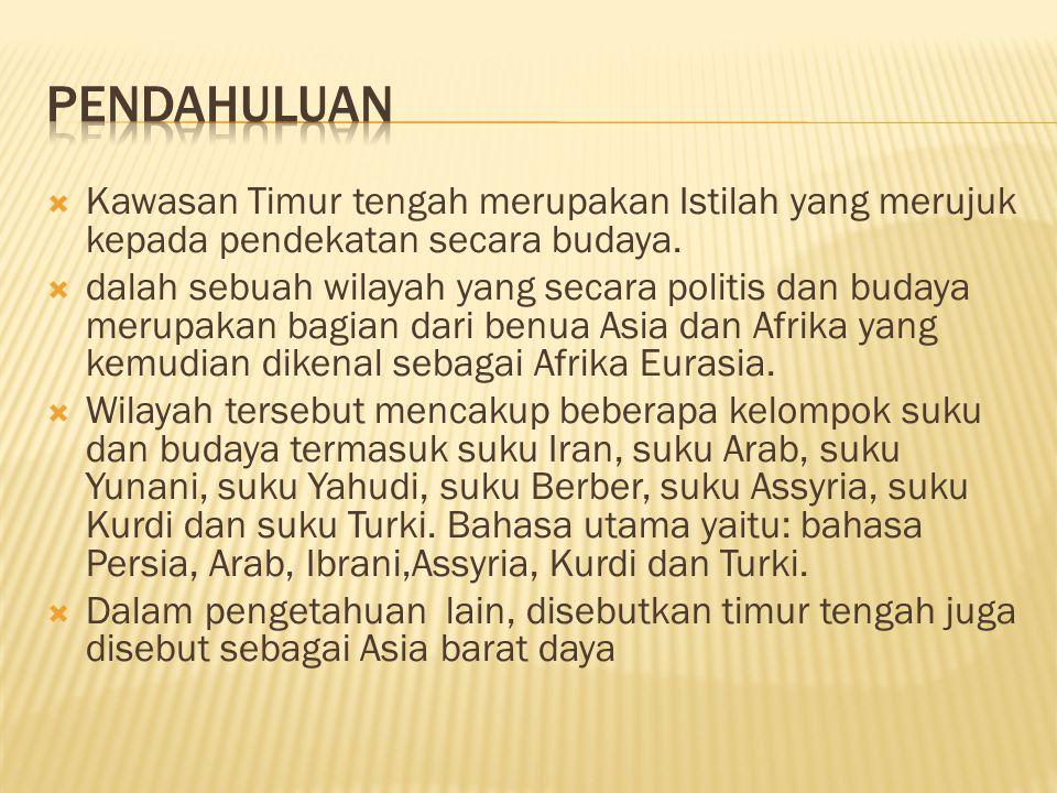 Pendahuluan Kawasan Timur tengah merupakan Istilah yang merujuk kepada pendekatan secara budaya.
