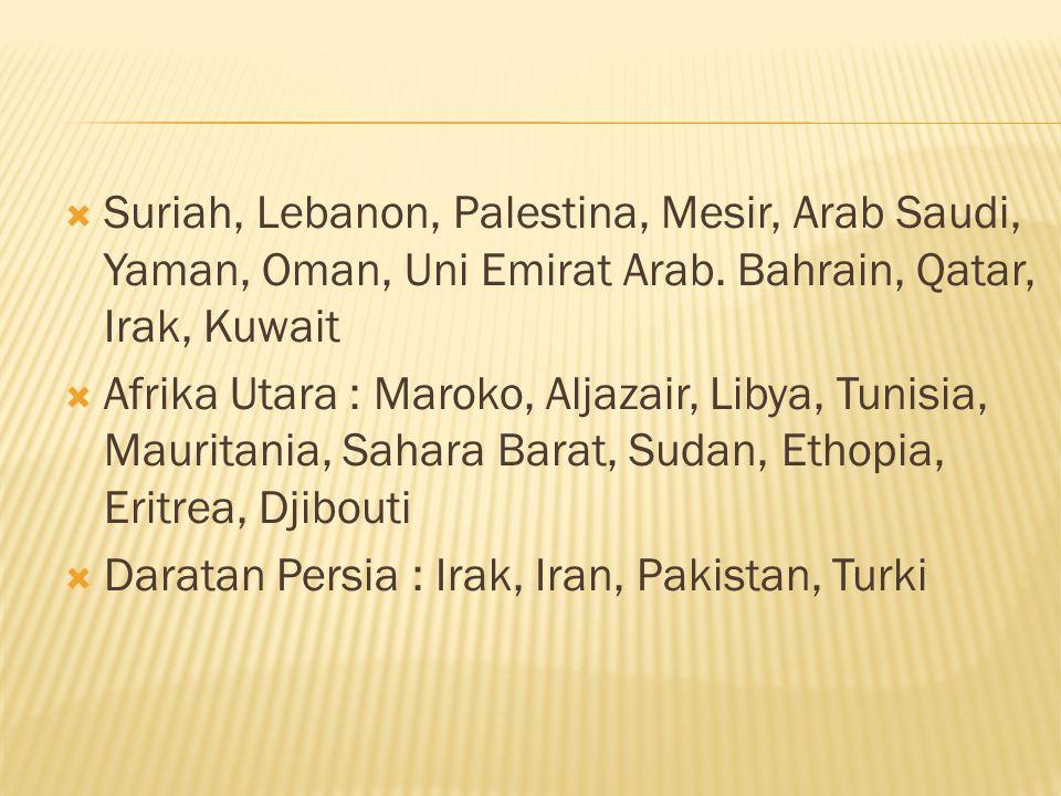 Suriah, Lebanon, Palestina, Mesir, Arab Saudi, Yaman, Oman, Uni Emirat Arab. Bahrain, Qatar, Irak, Kuwait