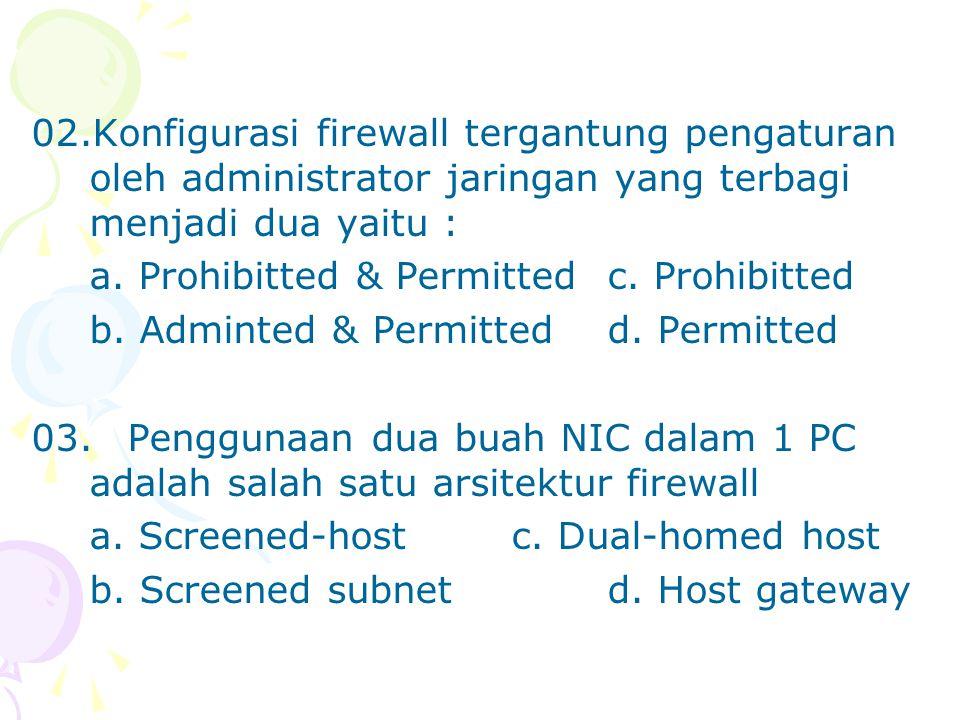 02.Konfigurasi firewall tergantung pengaturan oleh administrator jaringan yang terbagi menjadi dua yaitu :