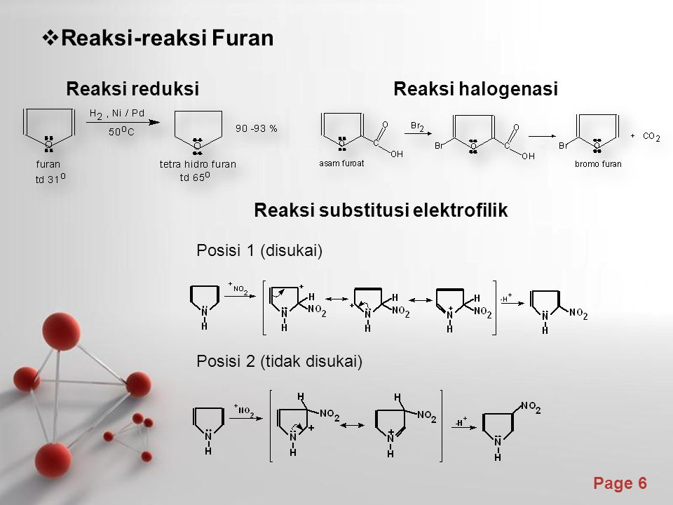 Reaksi-reaksi Furan Reaksi reduksi Reaksi halogenasi