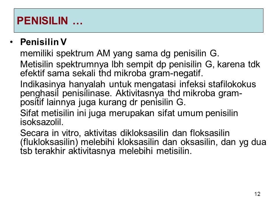 PENISILIN … Penisilin V memiliki spektrum AM yang sama dg penisilin G.