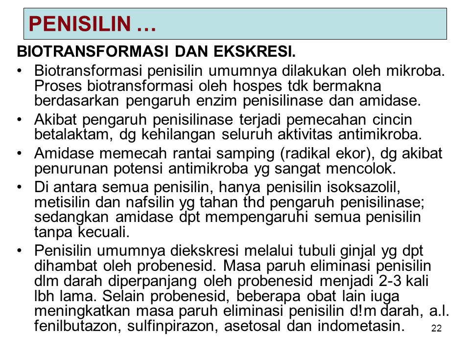 PENISILIN … BIOTRANSFORMASI DAN EKSKRESI.
