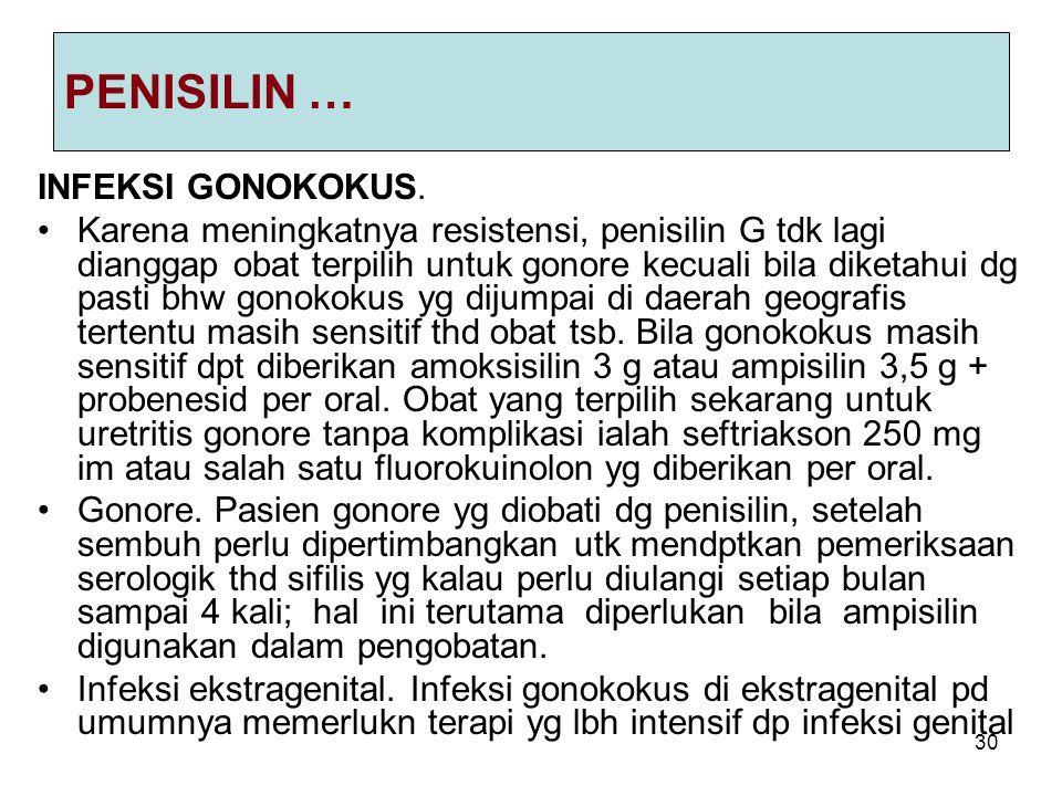 PENISILIN … INFEKSI GONOKOKUS.