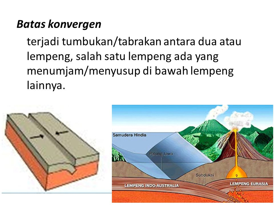 Batas konvergen terjadi tumbukan/tabrakan antara dua atau lempeng, salah satu lempeng ada yang menumjam/menyusup di bawah lempeng lainnya.