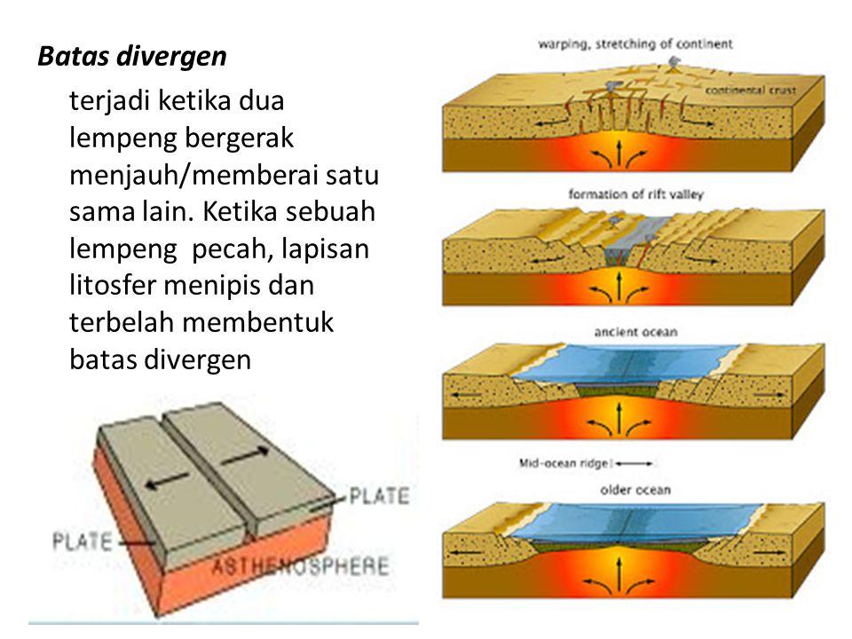 Batas divergen terjadi ketika dua lempeng bergerak menjauh/memberai satu sama lain. Ketika sebuah lempeng pecah, lapisan litosfer menipis dan terbelah membentuk batas divergen