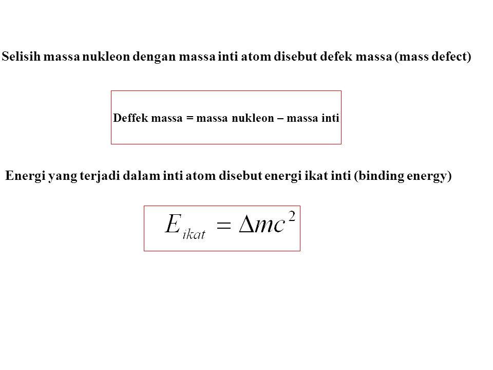 Deffek massa = massa nukleon – massa inti
