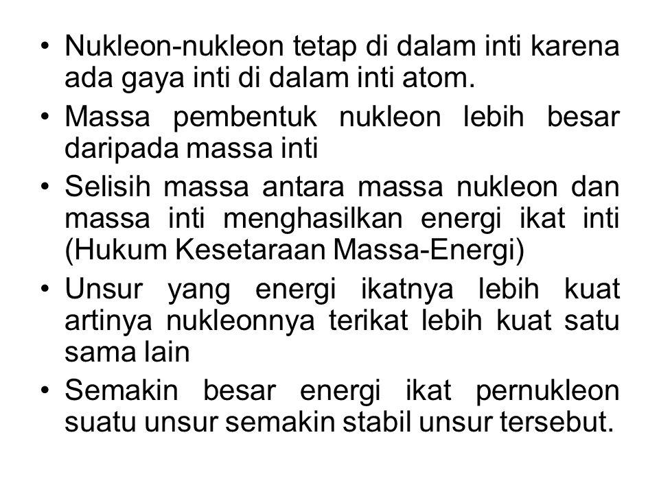 Nukleon-nukleon tetap di dalam inti karena ada gaya inti di dalam inti atom.