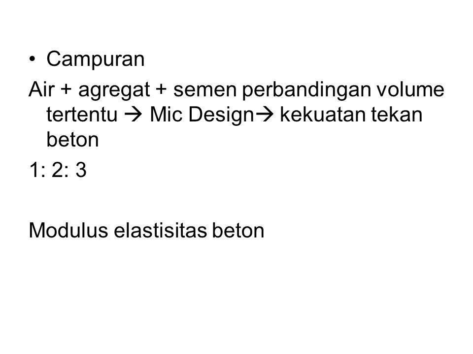 Campuran Air + agregat + semen perbandingan volume tertentu  Mic Design kekuatan tekan beton. 1: 2: 3.