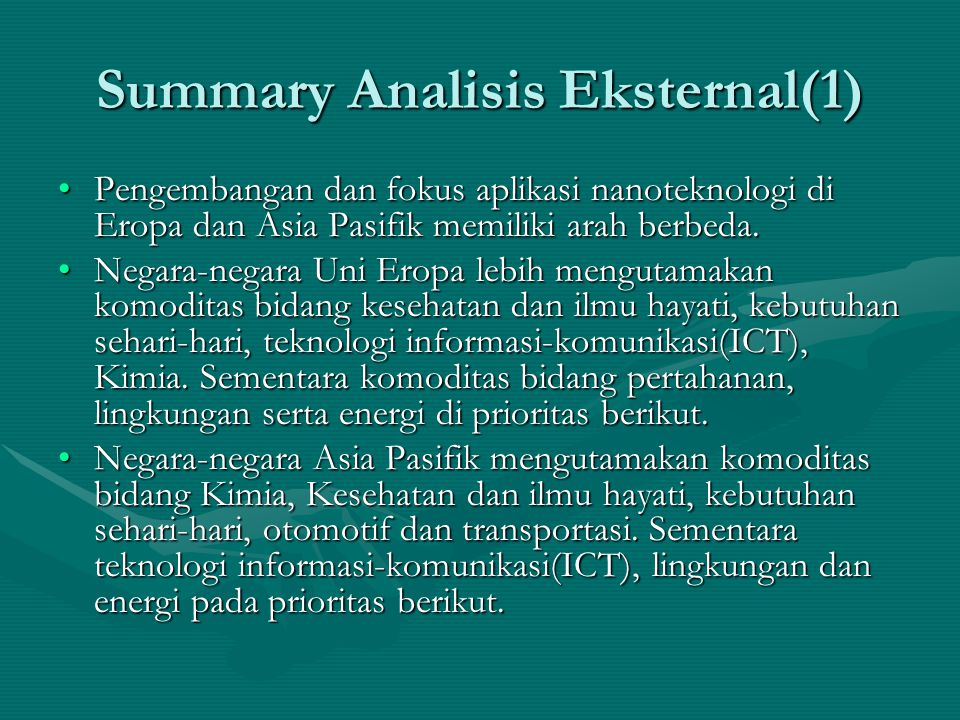 Summary Analisis Eksternal(1)