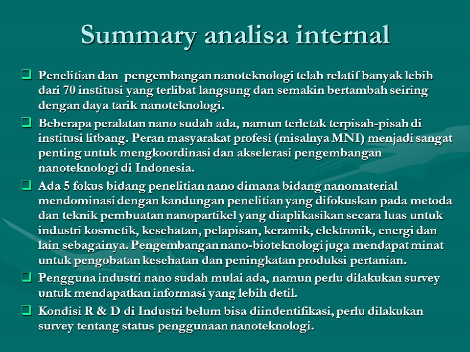 Summary analisa internal
