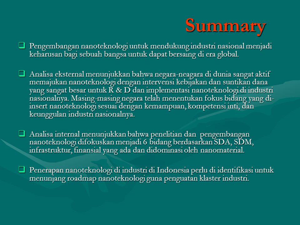 Summary Pengembangan nanoteknologi untuk mendukung industri nasional menjadi keharusan bagi sebuah bangsa untuk dapat bersaing di era global.