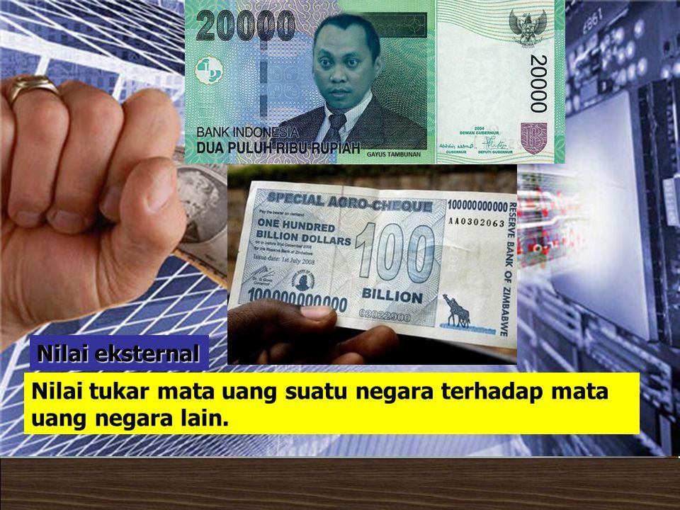 Nilai eksternal Nilai tukar mata uang suatu negara terhadap mata uang negara lain.