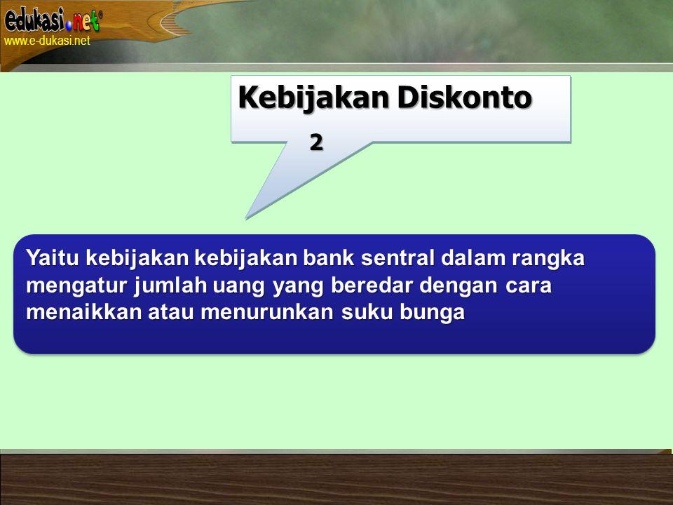 Kebijakan Diskonto 2. Yaitu kebijakan kebijakan bank sentral dalam rangka. mengatur jumlah uang yang beredar dengan cara.