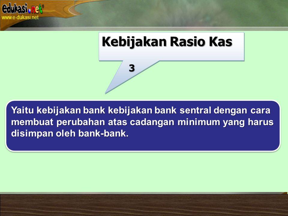 Kebijakan Rasio Kas 3. Yaitu kebijakan bank kebijakan bank sentral dengan cara. membuat perubahan atas cadangan minimum yang harus.