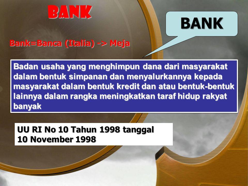 BANK BANK Bank=Banca (Italia) -> Meja