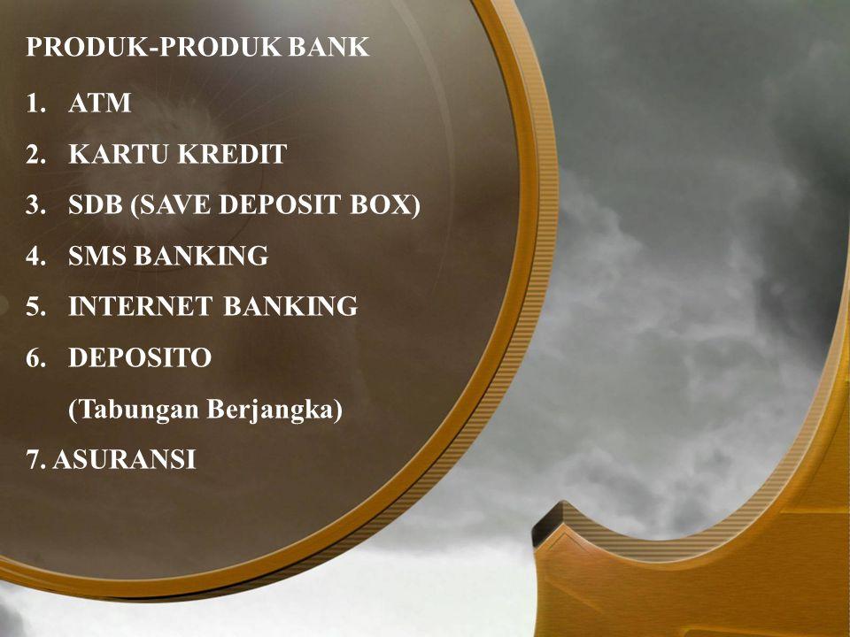 PRODUK-PRODUK BANK ATM. KARTU KREDIT. SDB (SAVE DEPOSIT BOX) SMS BANKING. INTERNET BANKING. DEPOSITO.
