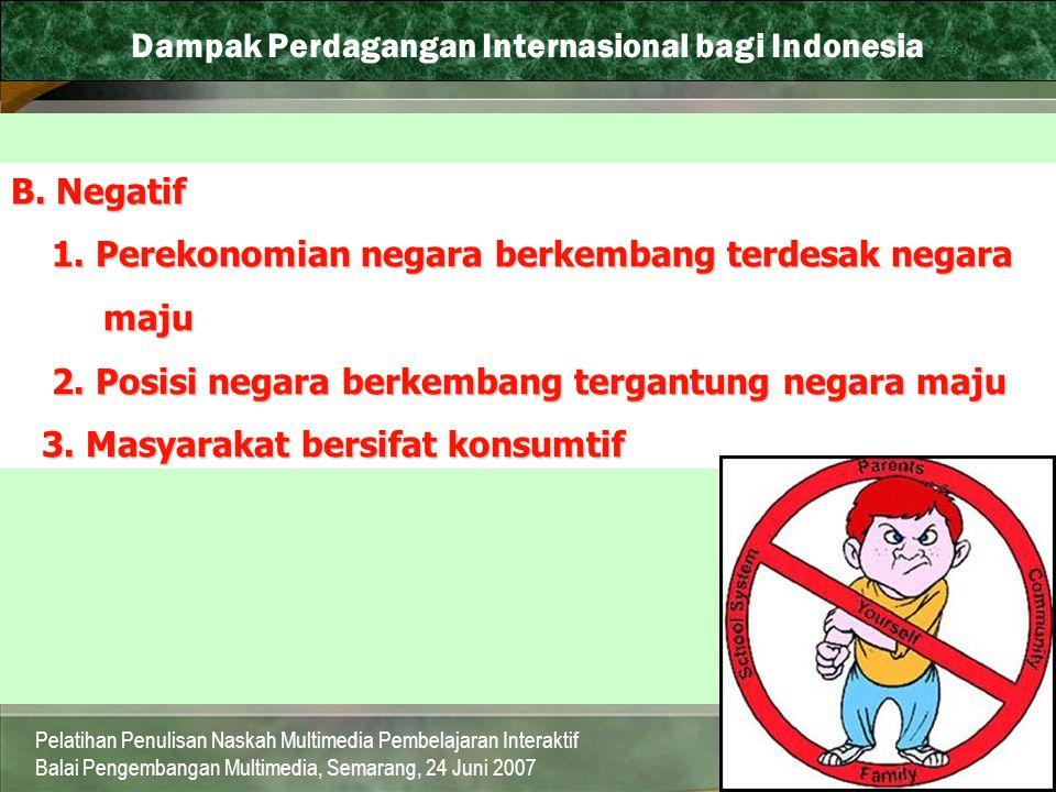 Dampak Perdagangan Internasional bagi Indonesia
