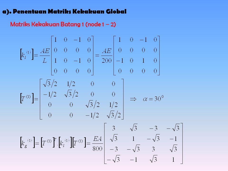 a). Penentuan Matriks Kekakuan Global