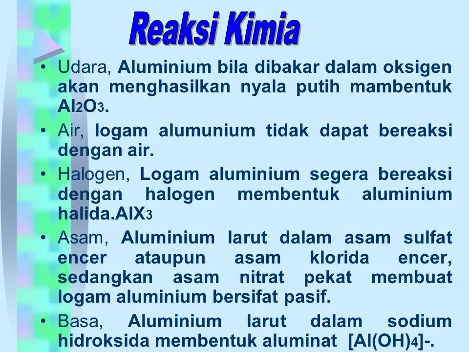 Reaksi Kimia Udara, Aluminium bila dibakar dalam oksigen akan menghasilkan nyala putih mambentuk Al2O3.