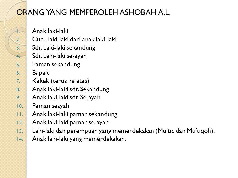 ORANG YANG MEMPEROLEH ASHOBAH A.L.