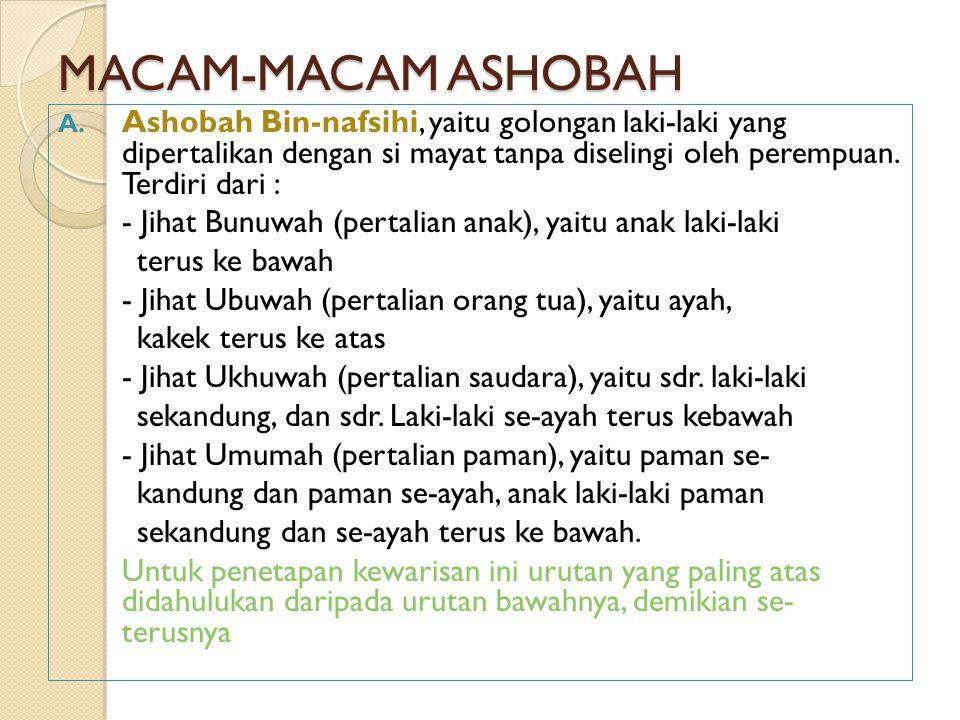 MACAM-MACAM ASHOBAH Ashobah Bin-nafsihi, yaitu golongan laki-laki yang dipertalikan dengan si mayat tanpa diselingi oleh perempuan. Terdiri dari :