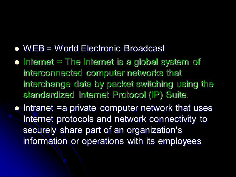 WEB = World Electronic Broadcast