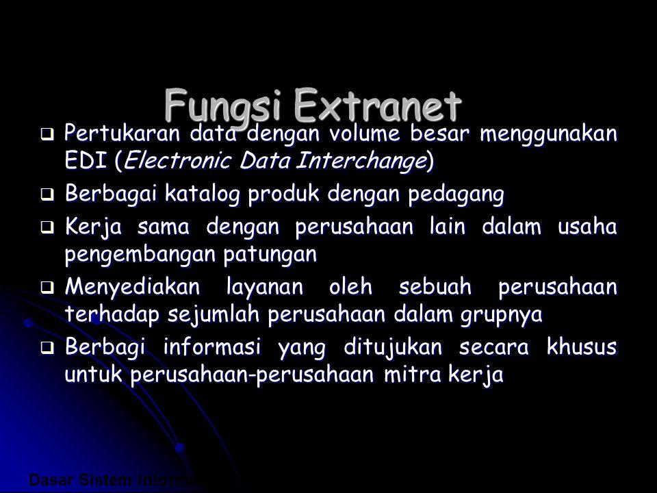 Fungsi Extranet Pertukaran data dengan volume besar menggunakan EDI (Electronic Data Interchange) Berbagai katalog produk dengan pedagang.