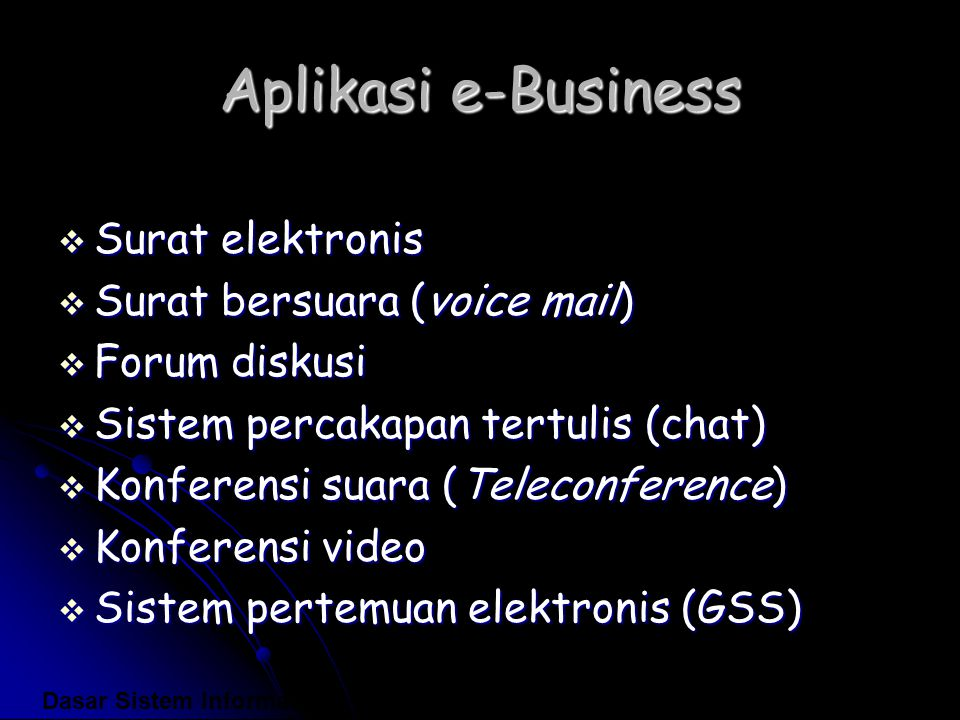 Aplikasi e-Business Surat elektronis Surat bersuara (voice mail)