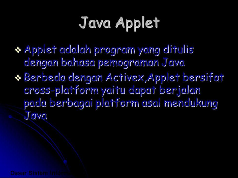Java Applet Applet adalah program yang ditulis dengan bahasa pemograman Java.