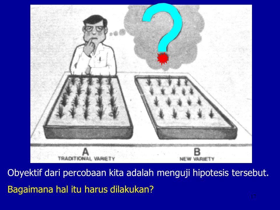 Obyektif dari percobaan kita adalah menguji hipotesis tersebut.