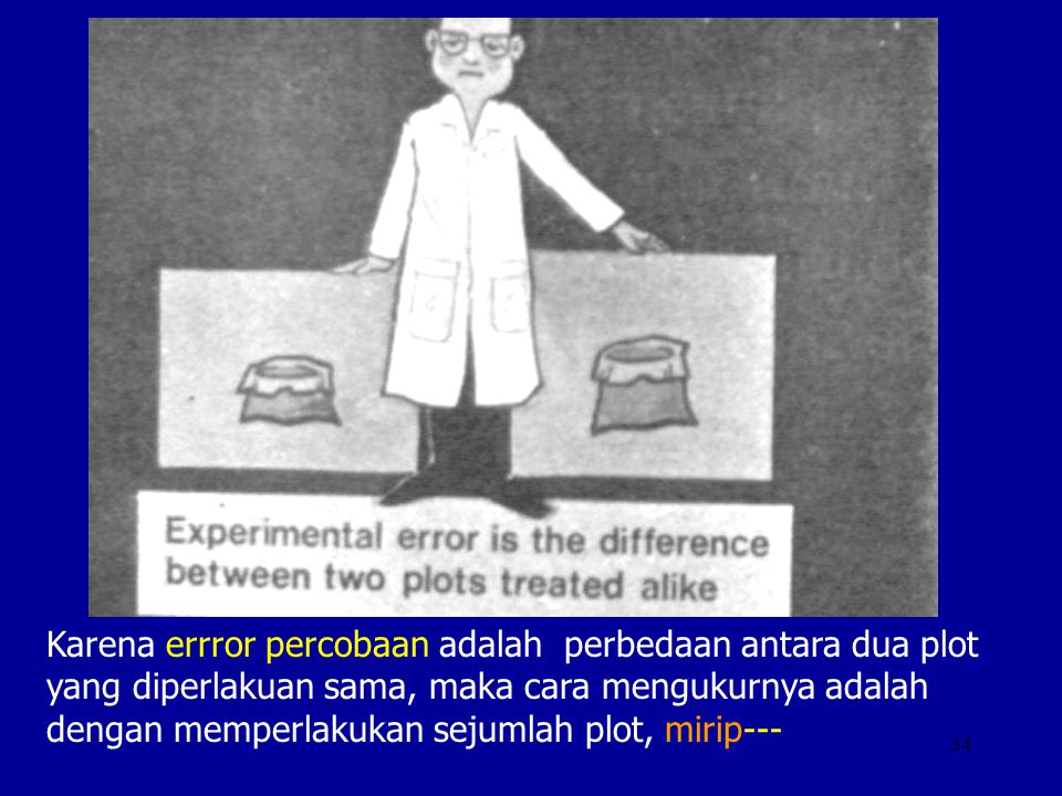 Karena errror percobaan adalah perbedaan antara dua plot yang diperlakuan sama, maka cara mengukurnya adalah dengan memperlakukan sejumlah plot, mirip---