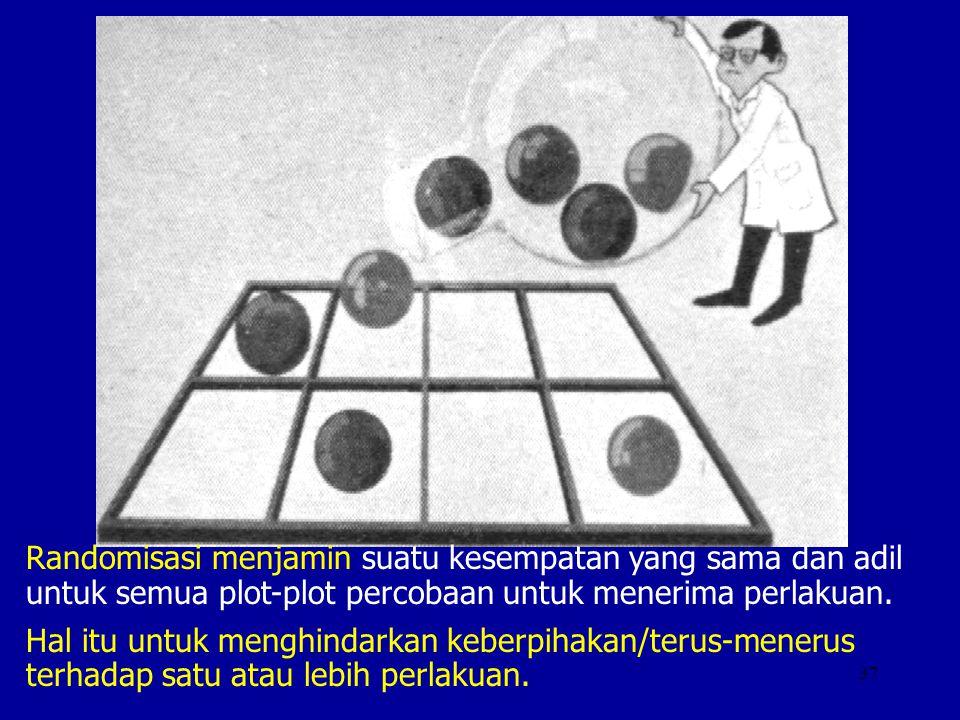 Randomisasi menjamin suatu kesempatan yang sama dan adil untuk semua plot-plot percobaan untuk menerima perlakuan.