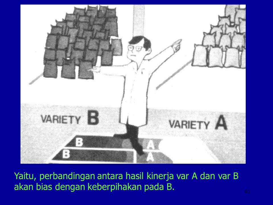 Yaitu, perbandingan antara hasil kinerja var A dan var B akan bias dengan keberpihakan pada B.