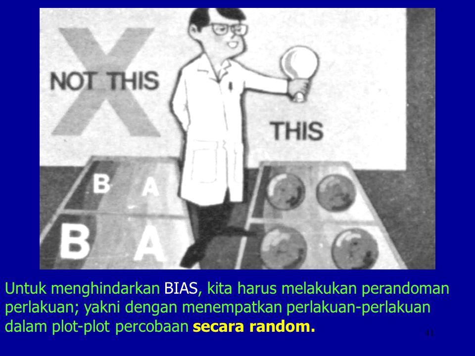 Untuk menghindarkan BIAS, kita harus melakukan perandoman perlakuan; yakni dengan menempatkan perlakuan-perlakuan dalam plot-plot percobaan secara random.