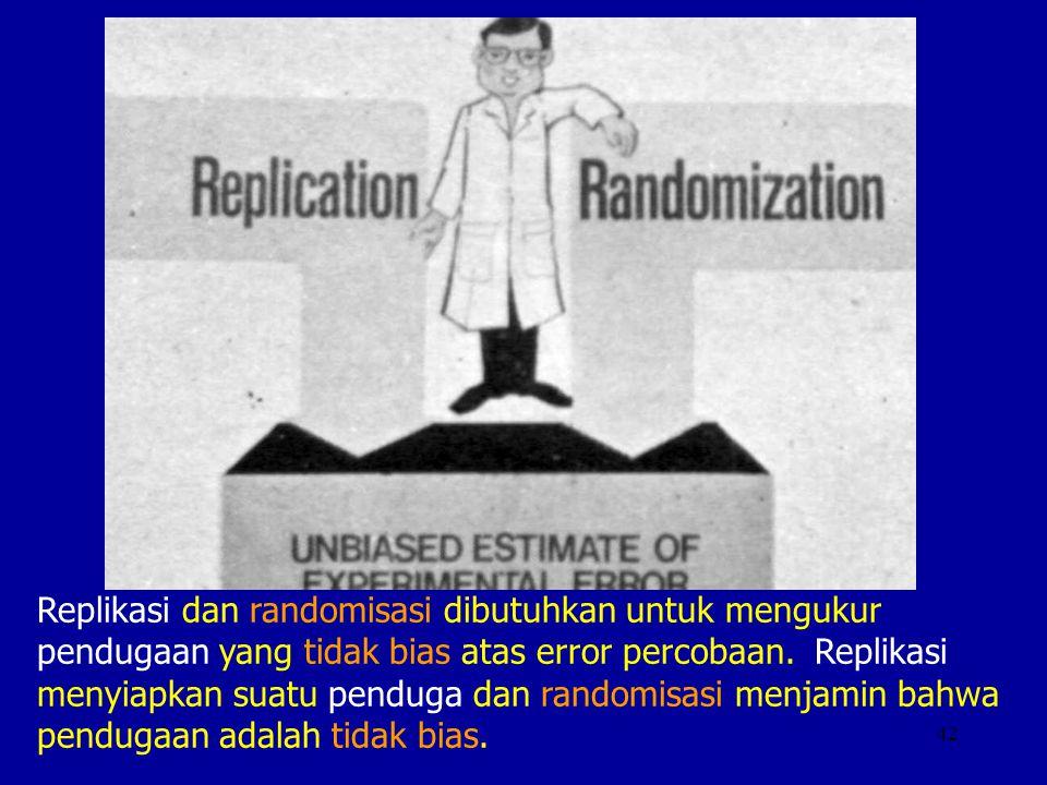 Replikasi dan randomisasi dibutuhkan untuk mengukur pendugaan yang tidak bias atas error percobaan.