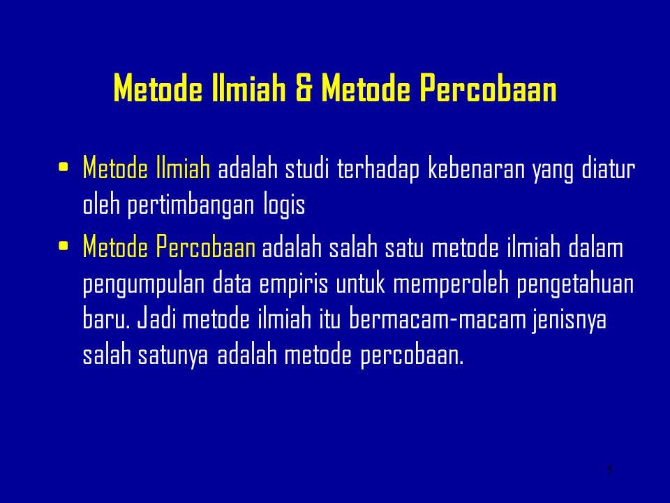 Metode Ilmiah & Metode Percobaan