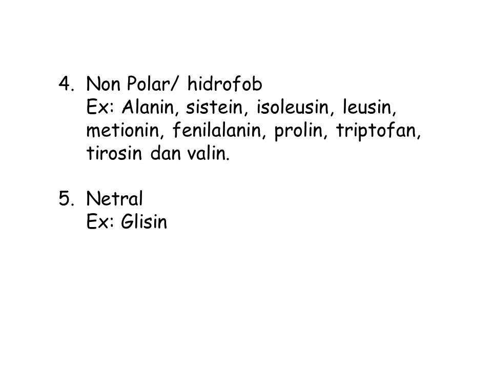 Non Polar/ hidrofob Ex: Alanin, sistein, isoleusin, leusin, metionin, fenilalanin, prolin, triptofan, tirosin dan valin.