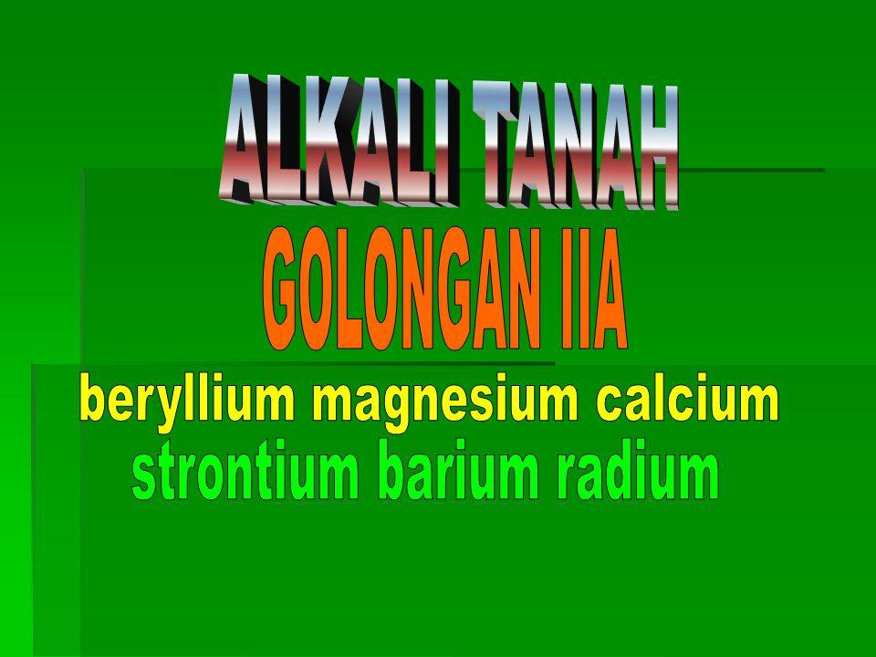 beryllium magnesium calcium