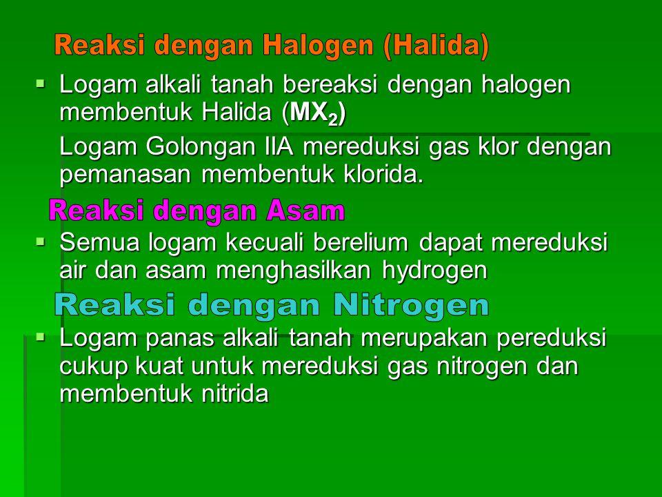 Reaksi dengan Halogen (Halida)