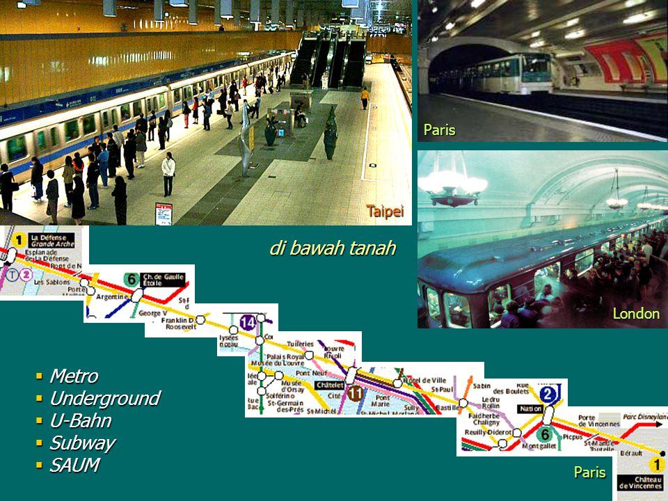 di bawah tanah Metro Underground U-Bahn Subway SAUM Paris Taipei